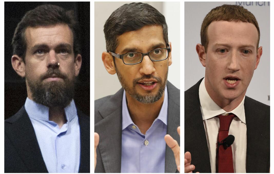 Twitter-sjef Jack Dorsey (venstre), Alphabet/Google-sjef Sundar Pichai (midten) og Facebook-sjef Mark Zuckerberg vil bli spurt ut om lovgivning som fritar dem ansvaret for ytringer publisert av tredjeparter på plattformene deres.