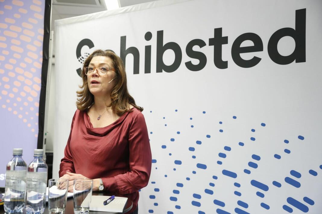 Kristin Skogen Lund presenter Schibsted resultatene onsdag.