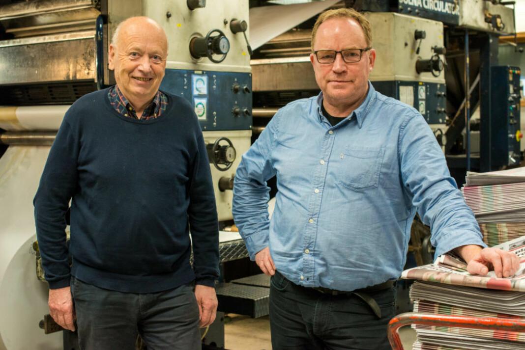 Styreleder og største eier Odd R. Øie (t.v.) sammen med påtroppende redaktør Gunnar Sætra i Sør-Varanger Avis.