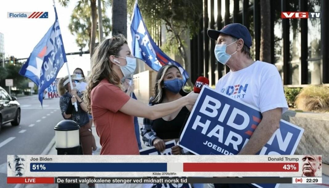 VGTVs sending fra valgnatten hadde 687 000 visninger. Her intervjuer reporter Ingeborg Huse Amundsen en Biden-tilhenger i Florida.