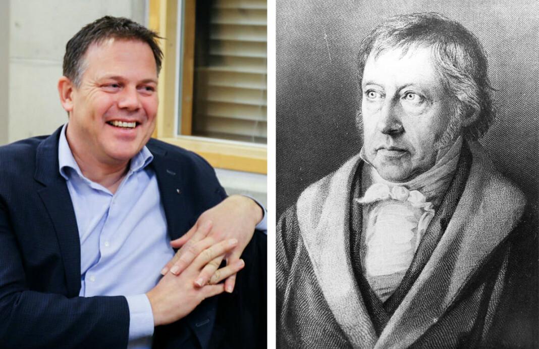 Redaktør Fred C. Gjestad fotografert i Øvre Romerike tingrett. Til høyre filosofen Georg Wilhelm Friedrich Hegel.