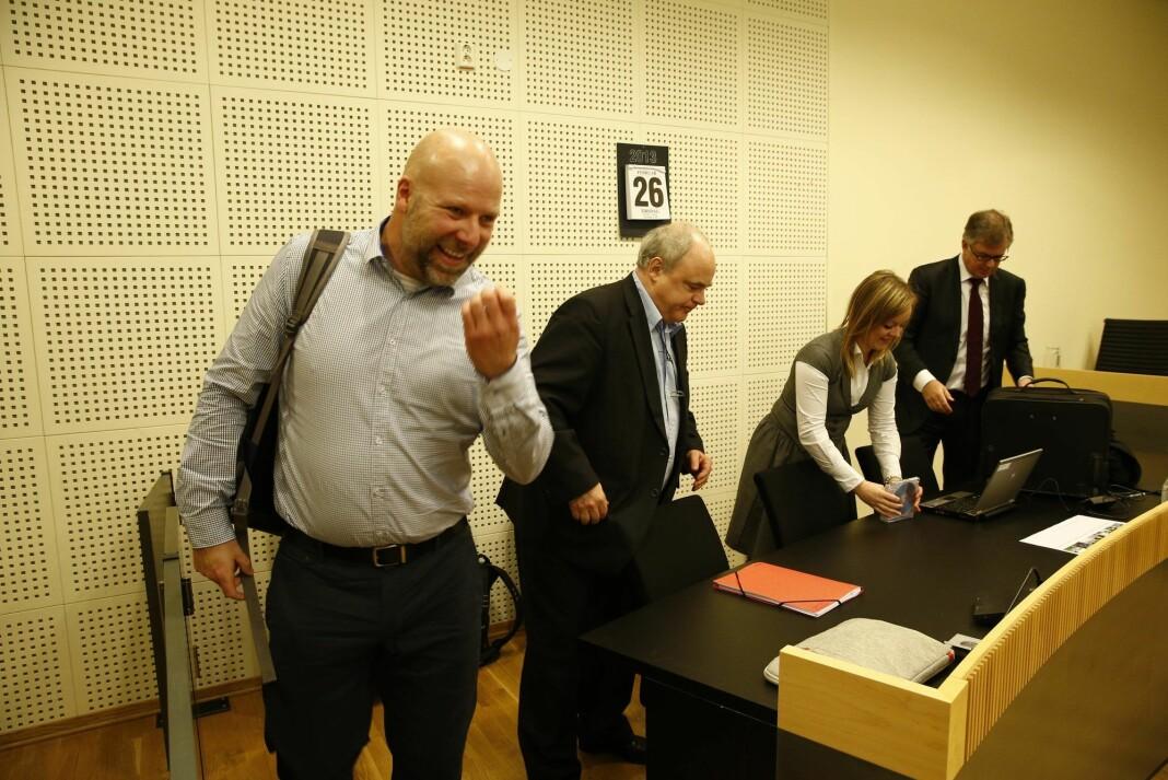 Erik Schjenken på plass i Borgarting lagmannsrett i forbindelse med ankebehandlingen der Dagbladet ble dømt til betale 200.000 kroner i oppreisning og erstatning til Schjenken.
