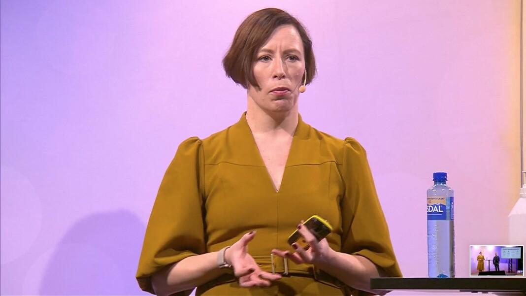 Ingeborg Volan presenterte Norsk redaktørforenings nye veileder om datasikkerhet onsdag.