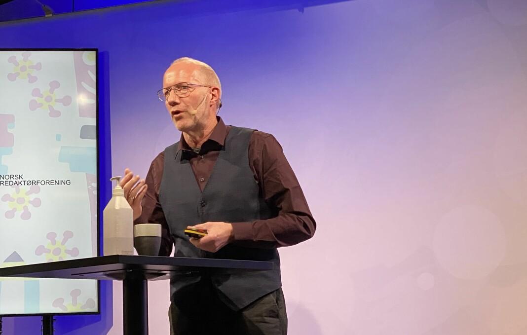 Arne Jensen, generalsekretær for Norsk Redaktørforening (NR), foreleste om åpenhet i domstolene på NRs høstmøte i Trondheim onsdag.