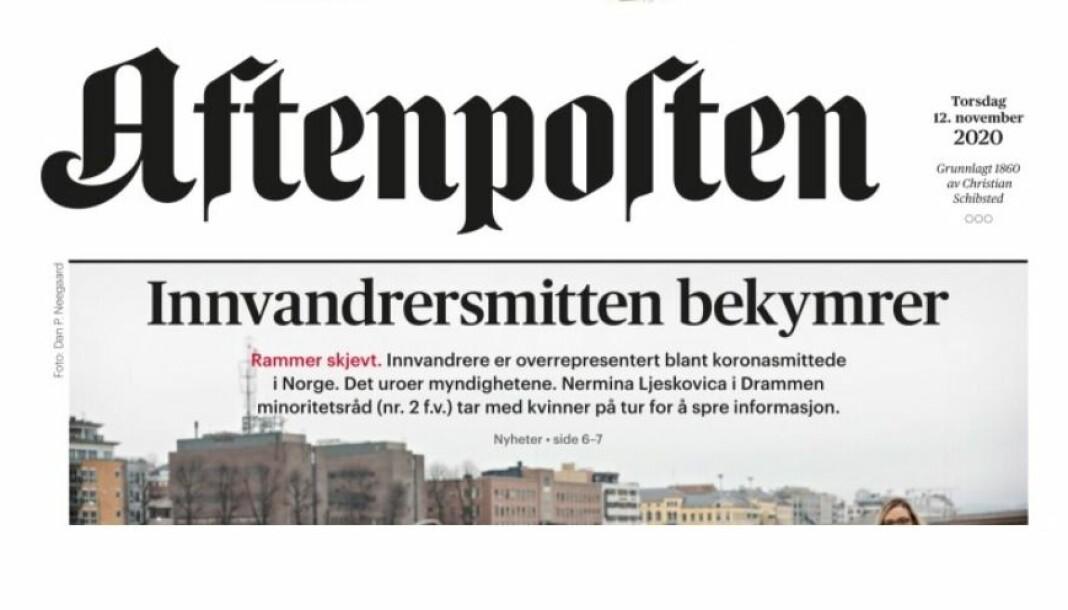 Aftenpostens papirforside torsdag 12. november.