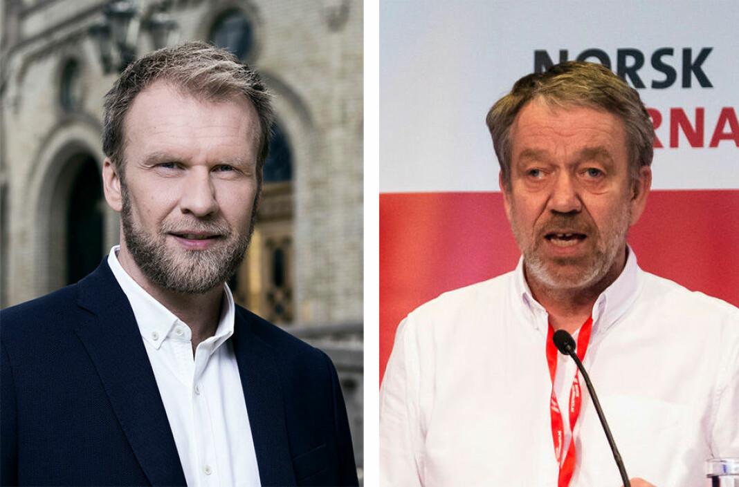 Profilerte NJ-medlemmer som Atle Bjurstrøm (t.v.) og Sven Arne Buggeland ber om at veivalg for navn og medlemmer får ligge til 2023.