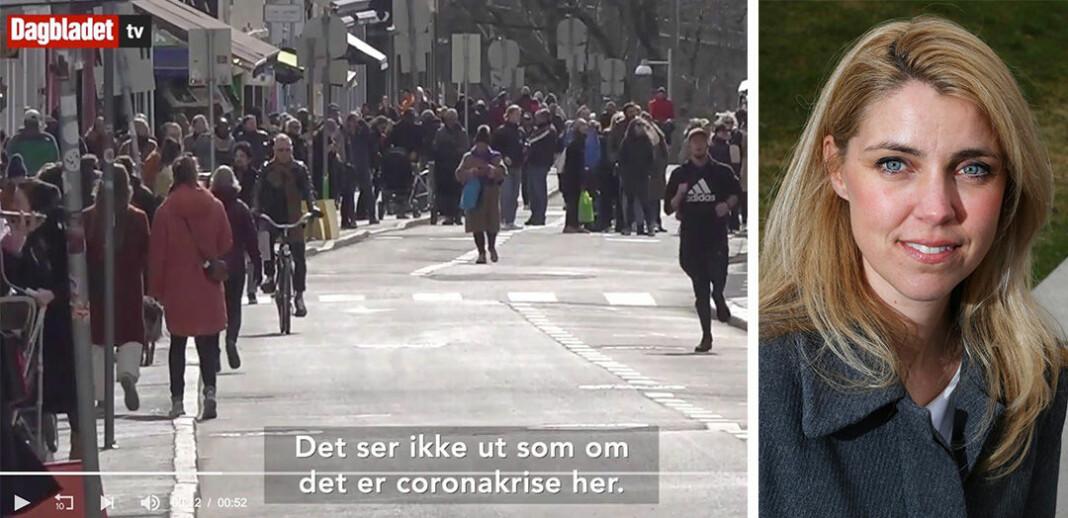 Dagbladets videoframstilling av folkeliv i Markveien i Oslo får kritikk fra PFU. Til høyre: Ansvarlig redaktør Alexandra Beverfjord i Dagbladet.