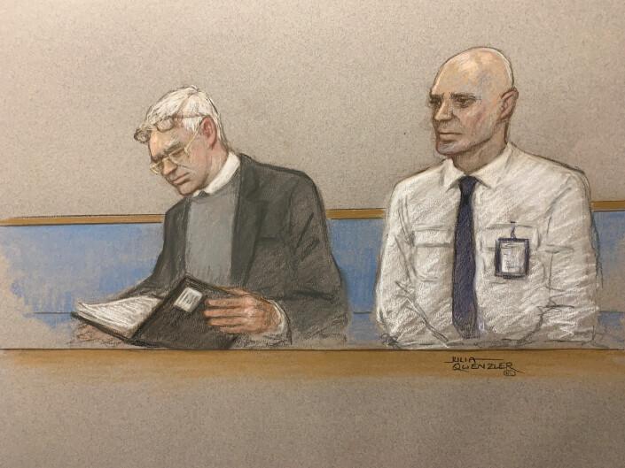 Julian Assange tegnet i rettssalen i februar 2020.