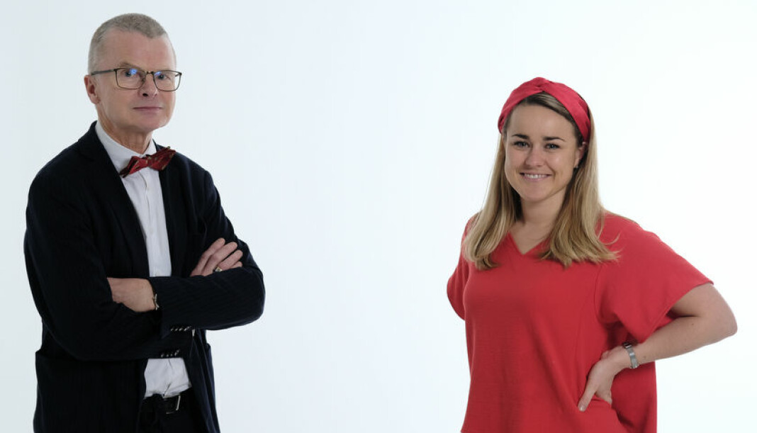 Sjefredaktør Lars Helle og daglig leder Mari-Marthe Aamold passete onsdag en milepæl for avisen.