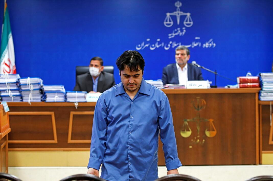 Bildet er fra rettssaken i juni, hvor Ruholla Zam ble dømt til døden.