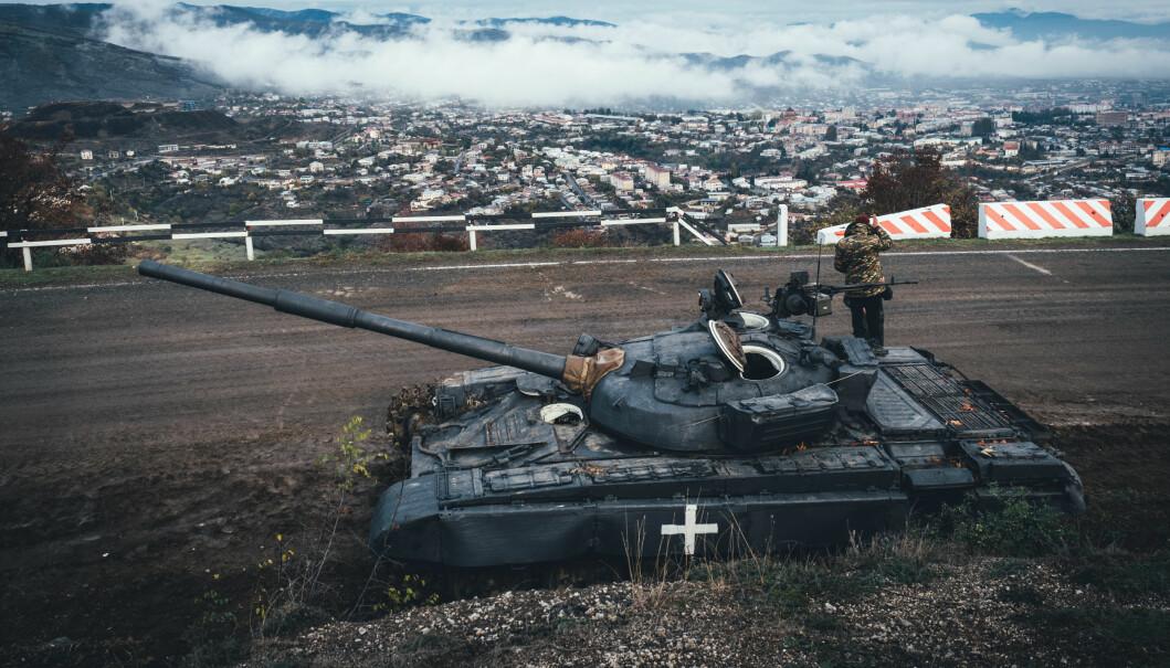 Armenske styrker ved hovedstaden Stepanakert.