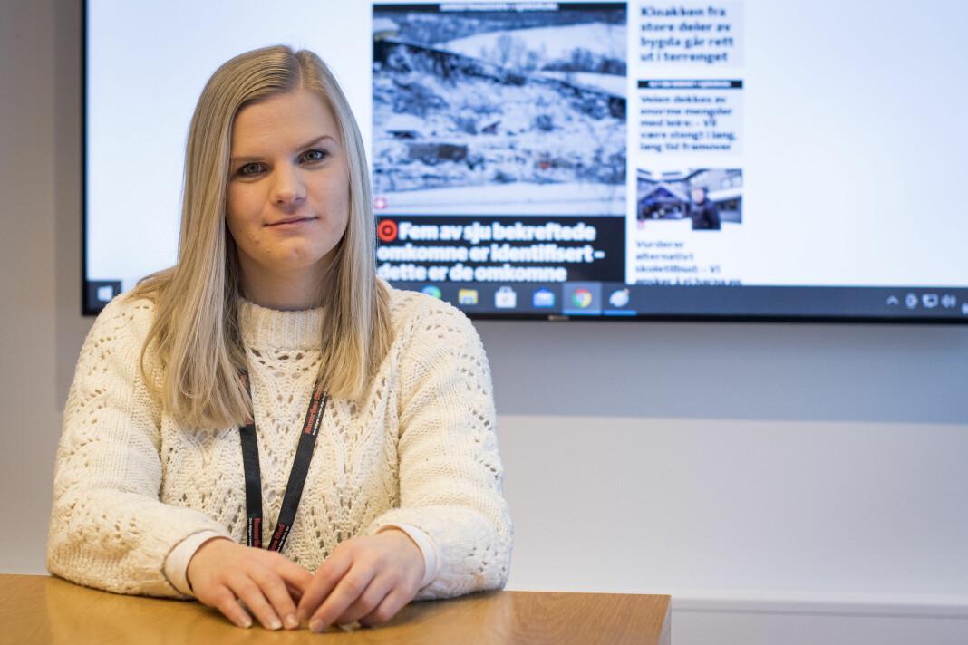 Stine Christensen, journalist i Romerikes Blad, var den første journalisten på stedet etter skredet i Gjerdrum kommune.