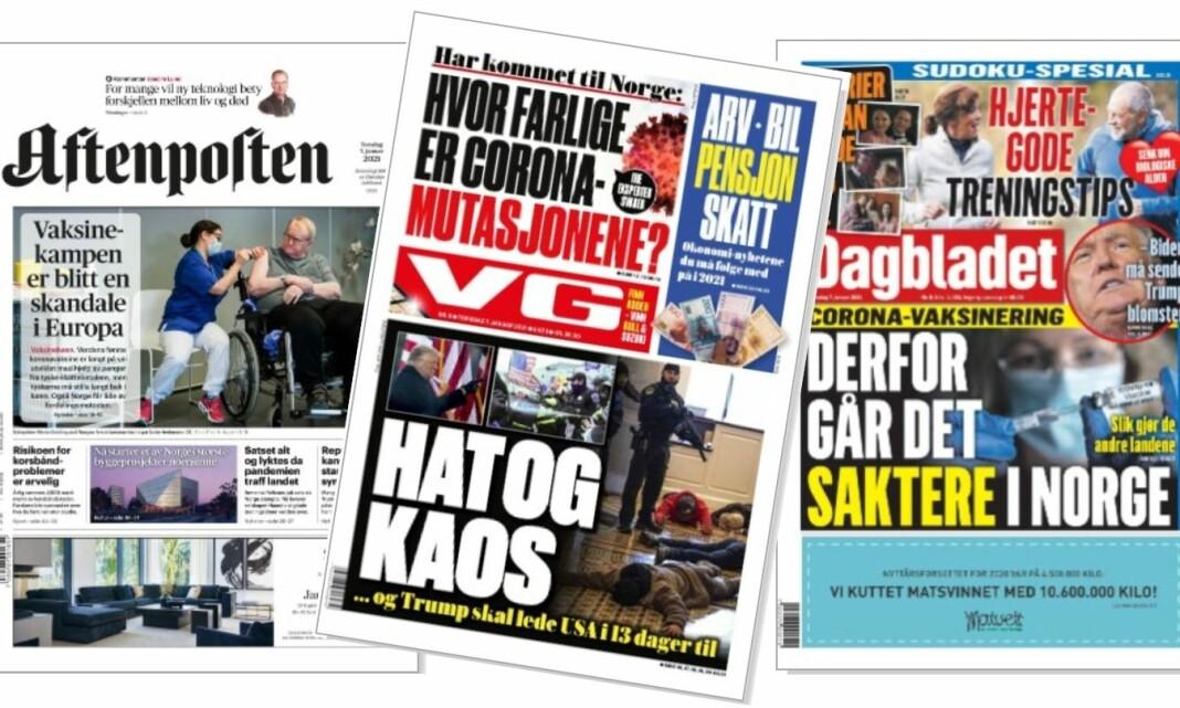 VG rakk å kaste om fronten, mens Dagbladet og Aftenposten gikk glipp av Kongress-stormingen på papir