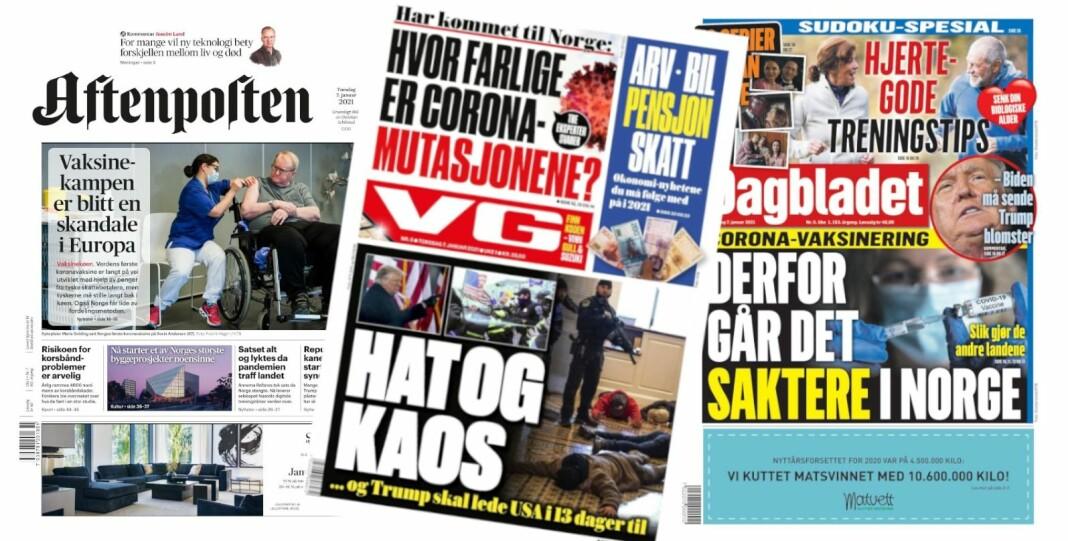 Forsidene på Aftenposten, VG og Dagbladet torsdag 7. januar.