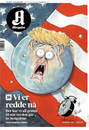 Aftenpostens forside 1. november 2016 var illustrert av Inge Grødum.