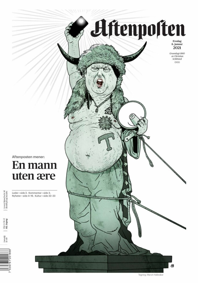 Fredagens papiravis-forside i Aftenposten.