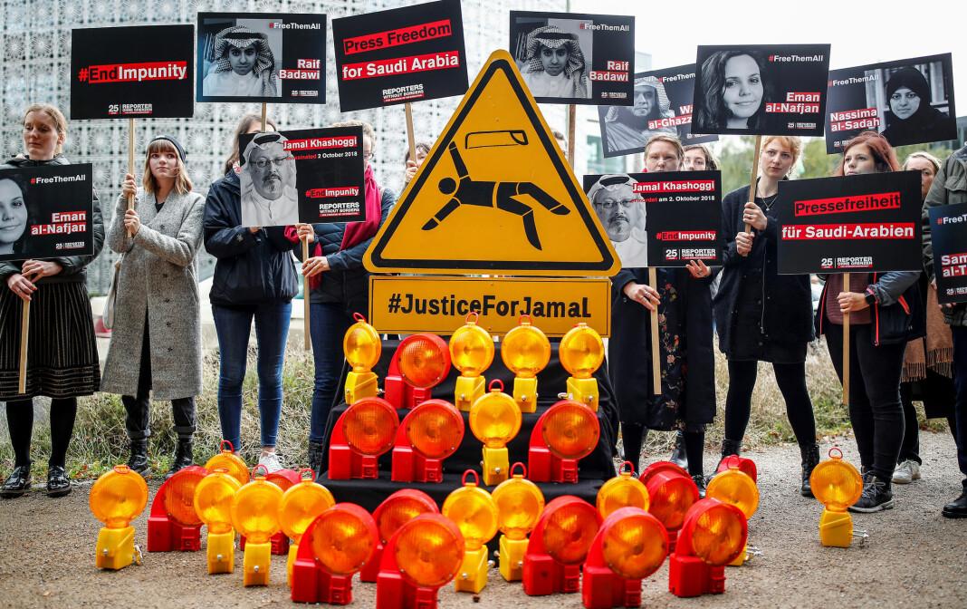 Aktivister fra Reportere uten grenser demonstrerer utenfor den saudiarabiske ambassaden i Berlin i 2019.