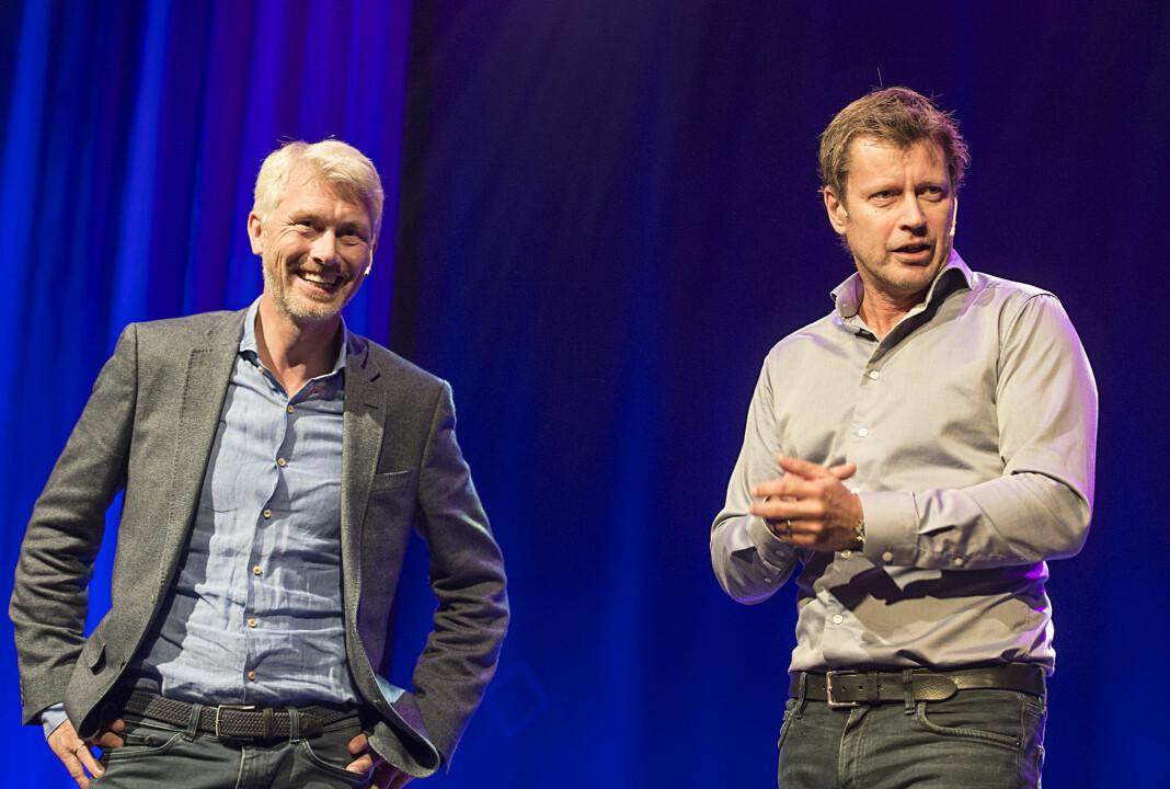 TV 2-sjef Olav T. Sandnes og kanaldirektør Trygve Rønningen kan smile for gode TV-tall i januar.