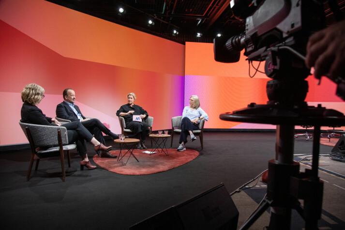 I år som i fjor blir Nordiske mediedager en heldigital konferanse. Her fra fjorårets pausepanel, fra venstre.: Sarah Sørheim, Frithjof Jacobsen, Guri Heftye og Trine Eilertsen.