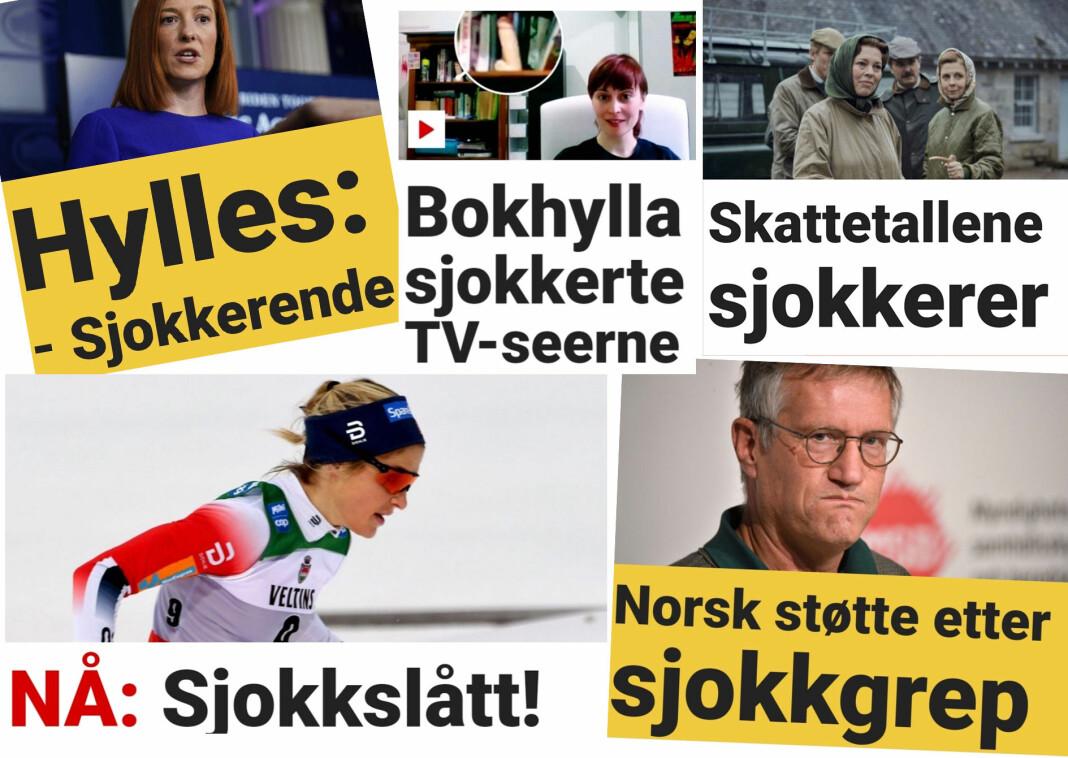 Noen av skjermdumpene Jan-Erik Winther har hentet fra forsiden til Dagbladet de siste 22 ukene.