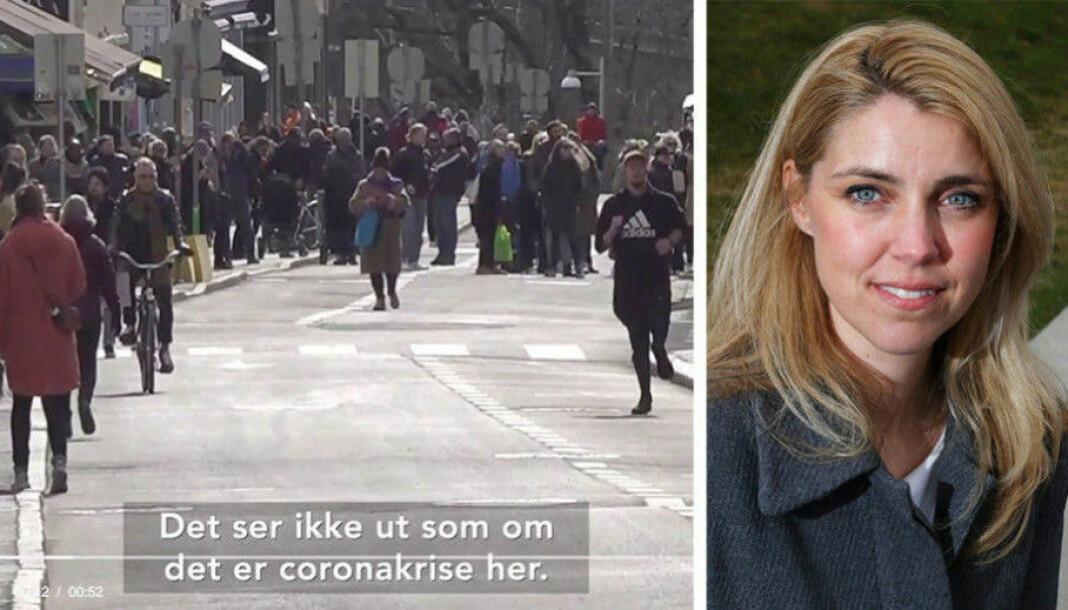 Framstilingen av trengsel i gatene på Grünerløkka i Oslo trekkes fram når Natt&Dag kårer Dagbladet.no til Årets verste stemme. Ansvarlig redaktør Alexandra Beverfjord til høyre.