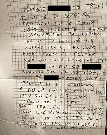 «Elin» fant dette brevet i postkassa hjemme. Journalisten har sladdet identifiserende ord.