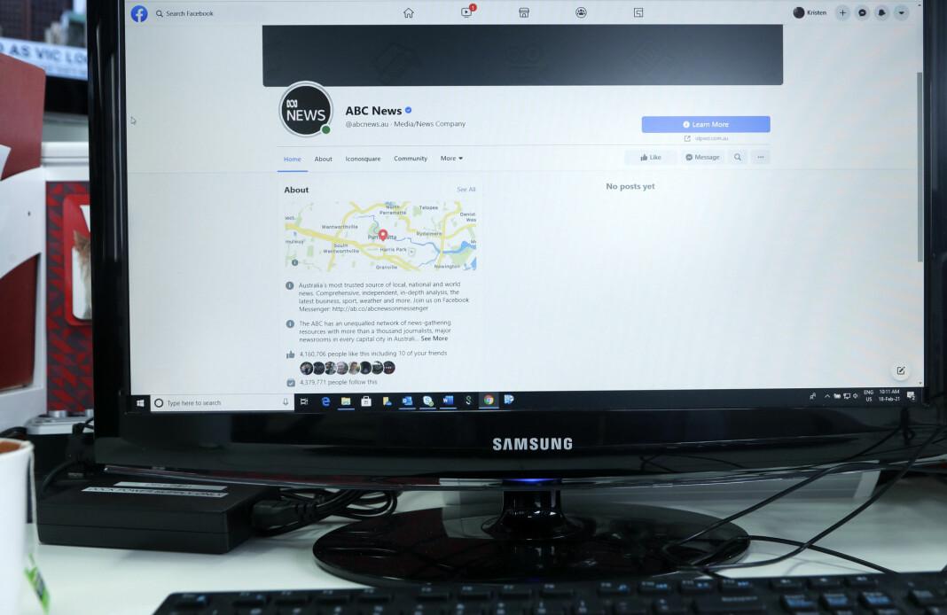 Facebook-profilen til den australske kringkasteren ABC framsto som helt uten innlegg torsdag, etter at nettgigantens blokkering trådte i kraft.