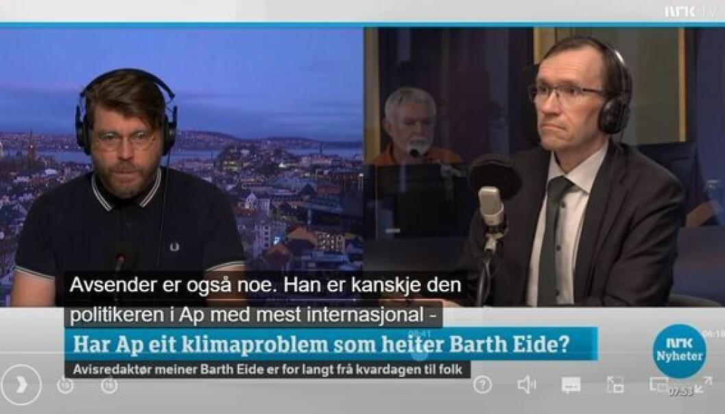 BA-redaktør Sigvald Sveinbjørnsson i debatt med Espen Barth Eide på NRK.