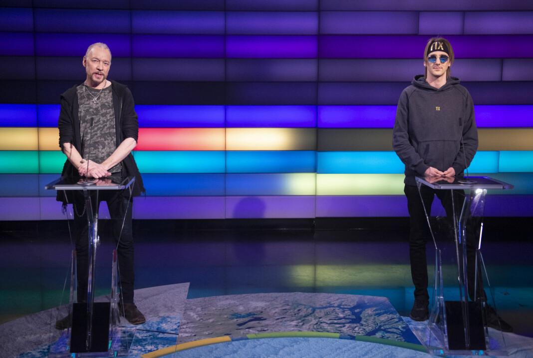 Dagbladet-anmelder Anders Grønneberg og Tix, som egentlig heter Andreas Haukeland, i Debattens studio på Marienlyst tirsdag kveld.