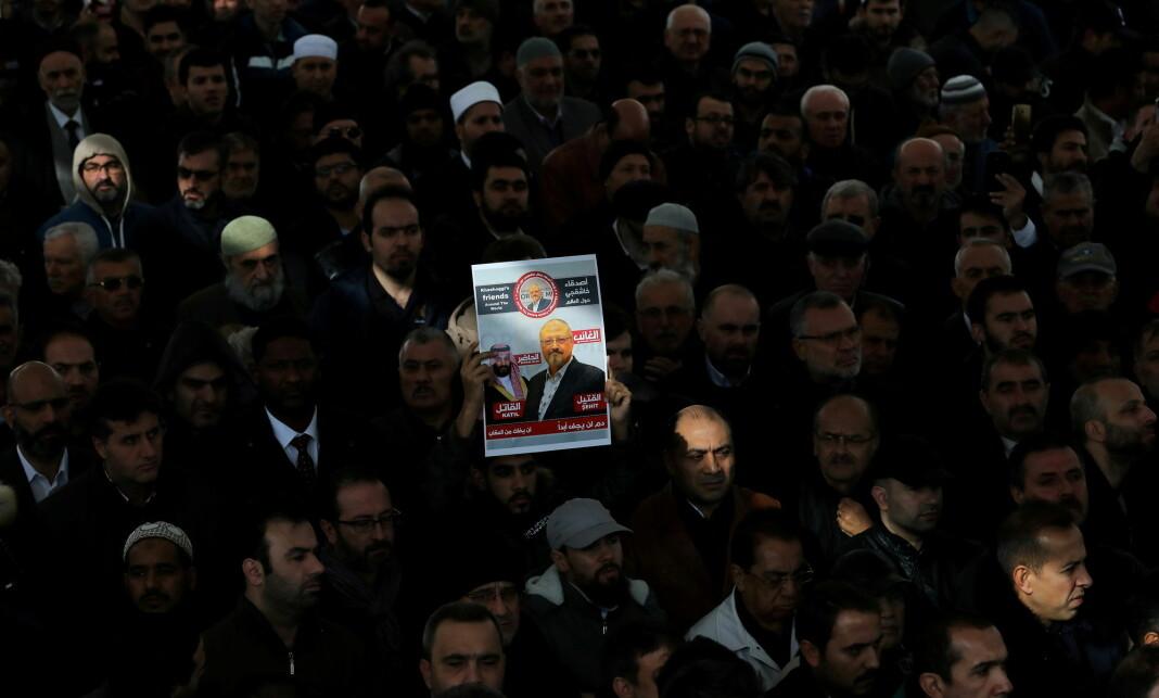 Rapporten ble laget like etter at Jamal Khashoggi ble drept på det saudiarabiske konsulatet i Istanbul i 2018. Bildet viser en demonstrasjon i 2018.