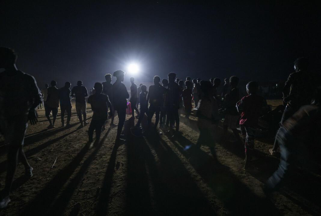 Flyktninger fra urolighetene i Tigray fotografert i en flyktningleir i Sudan.