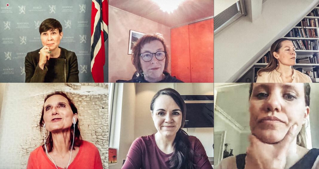 Skjermdump fra møtet mellom utenriksminister Ine Eriksen Søreide, Ingrid Brekke, Åsne Seierstad, Sidsel Wold, Sonja Skeistrand Sunde og Kristin Solberg.