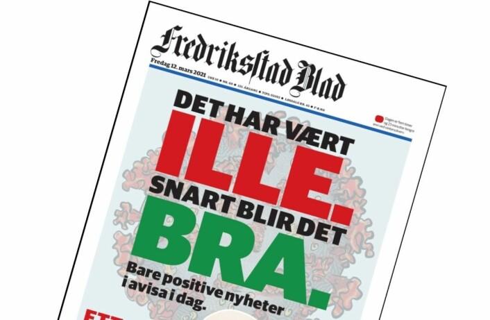 Slik markerer Fredriksstad Blad ett år med korona: Bare positive nyheter i avisa i dag