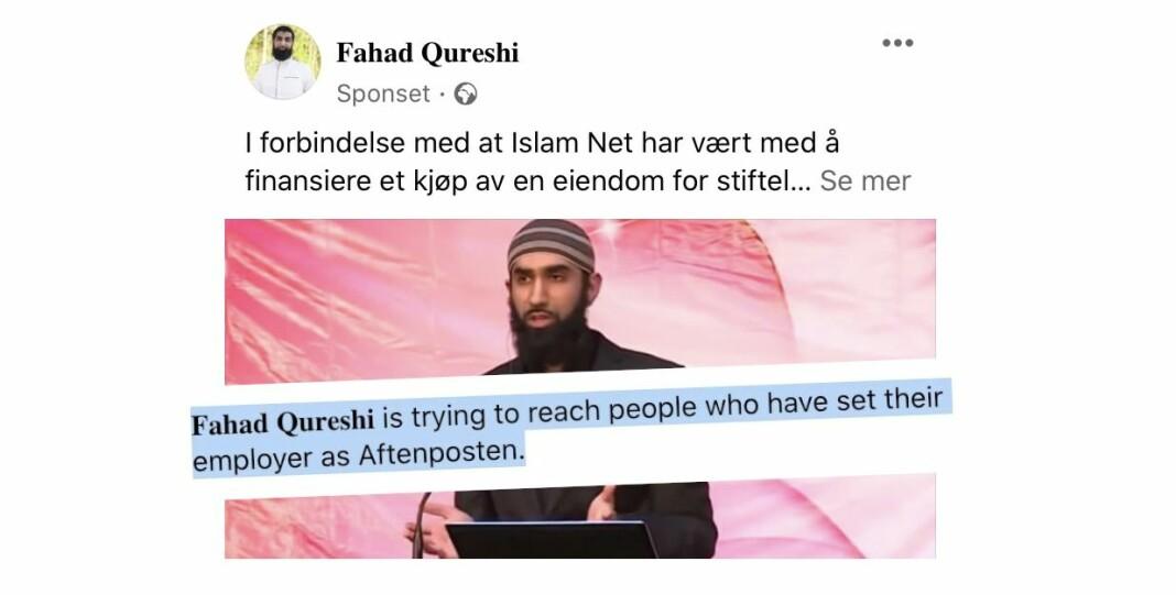 «Hvorfor ser jeg dette», undersøkte en Aftenposten-ansatt etter å ha sett sponset innlegg fra Fahad Qureshi.