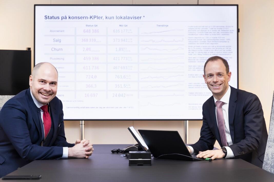 Konsernsjef Anders Møller Opdahl og konserndirektør for økonomi og finans, Gisle Torheim, i Amedia.