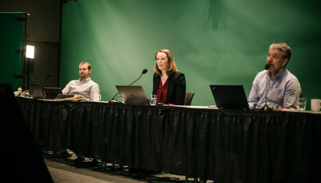 Ingrid Langeland Olderbakk, Sven Arne Buggeland (t.h.) og Daniel Rosenquist er ordstyrere under landsmøtet.