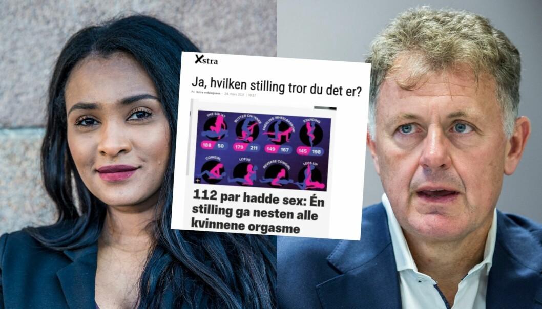 Xstra-redaktør Shurika Hansen forsvarer sakene der de «løfter» betalingsmuren til andre medier. Nettavisens Gunnar Stavrum er ikke imponert.