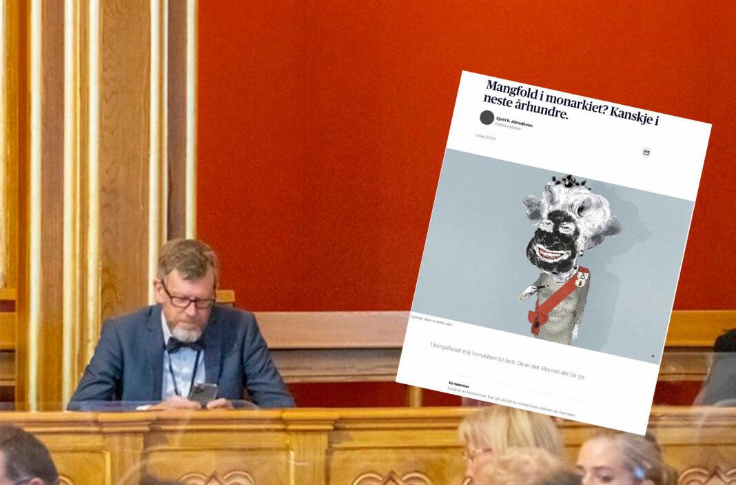 Politisk redaktør Kjetil B. Alstadheim i Aftenposten. Til høyre Marvin Hallerakers tegning av den britisk dronningen.