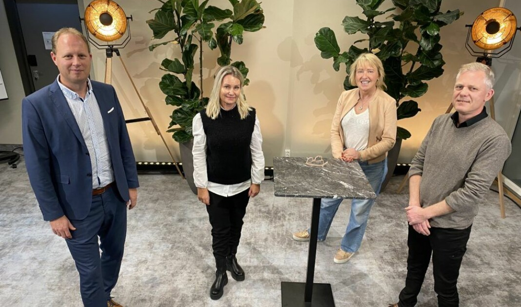 Tomas Bruvik (t.v.), Tone Sidsel Sanden, Grethe Gynnild-Johnsen og Lars Kristiansen utgjør sammen med Per Christian Magnus arbeidsgruppa for samarbeidsprosjektet om Den store folkevandringen.