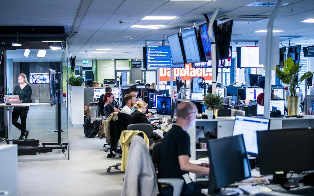 Dagbladets redaksjon. Nyhetsgolvet, DBTV, TV-studioet, TV-desken, hoveddesken. Sentralredaksjonen.  Foto: Lars Eivind Bones / Dagbladet