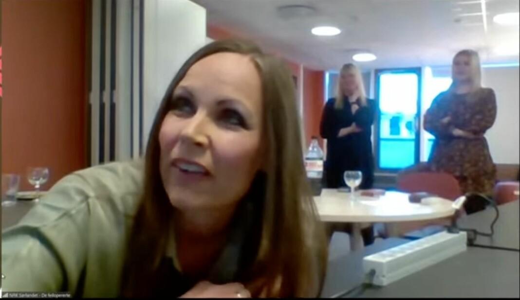 NRK Sørlandet fikk Skup-diplom for «De feilopererte». I front Kari Jeppestøl Arntzen.
