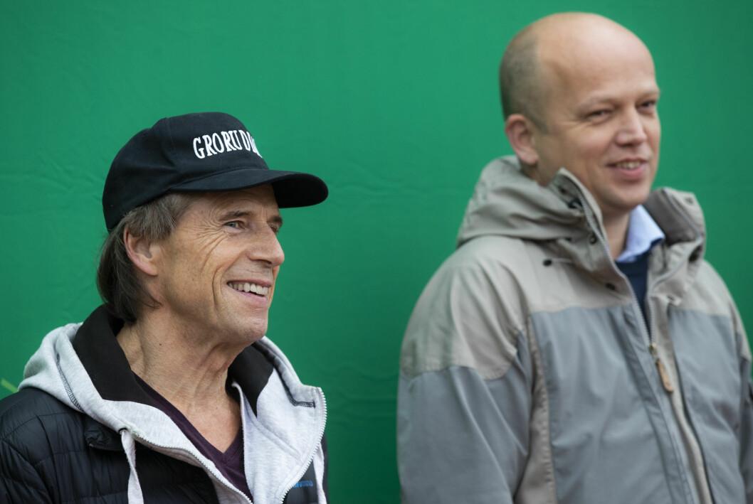 Sps toppkandidat i Oslo, Jan Bøhler og Sp-leder Trygve Slagsvold Vedum, ønsker å plassere NRK i området rundt Grorud stasjon.