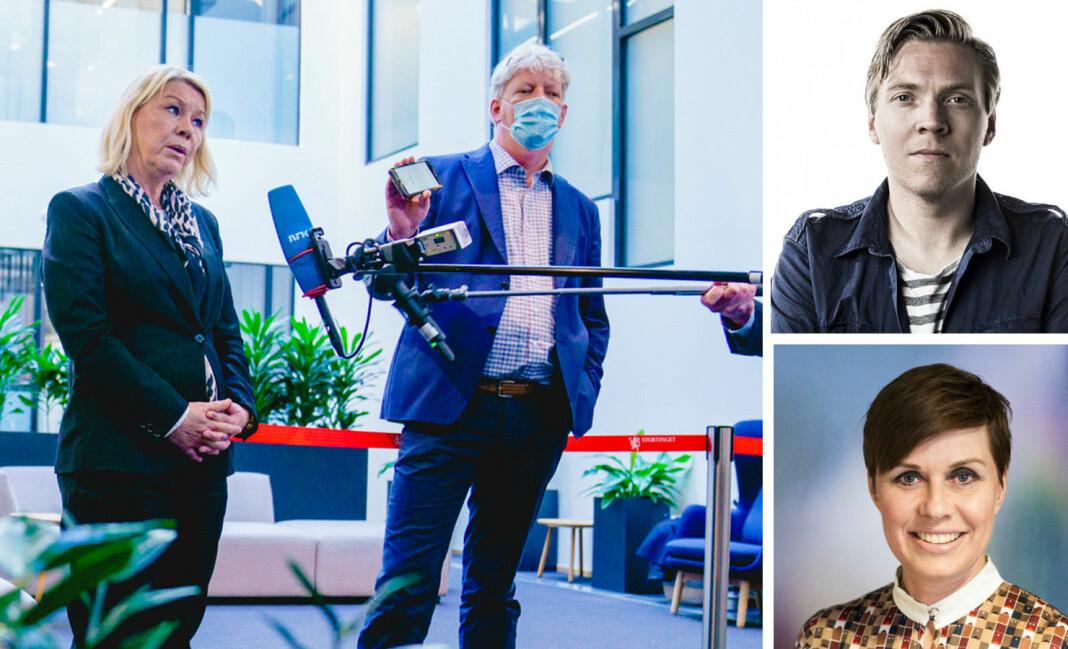 Leder for Pressens offentlighetsutvalg, Tron Strand, intervjuer justisminister Monica Mæland. Til høyre: Sindre Granly Meldalen (NP) og Ina Lindahl Nyrud (NJ).