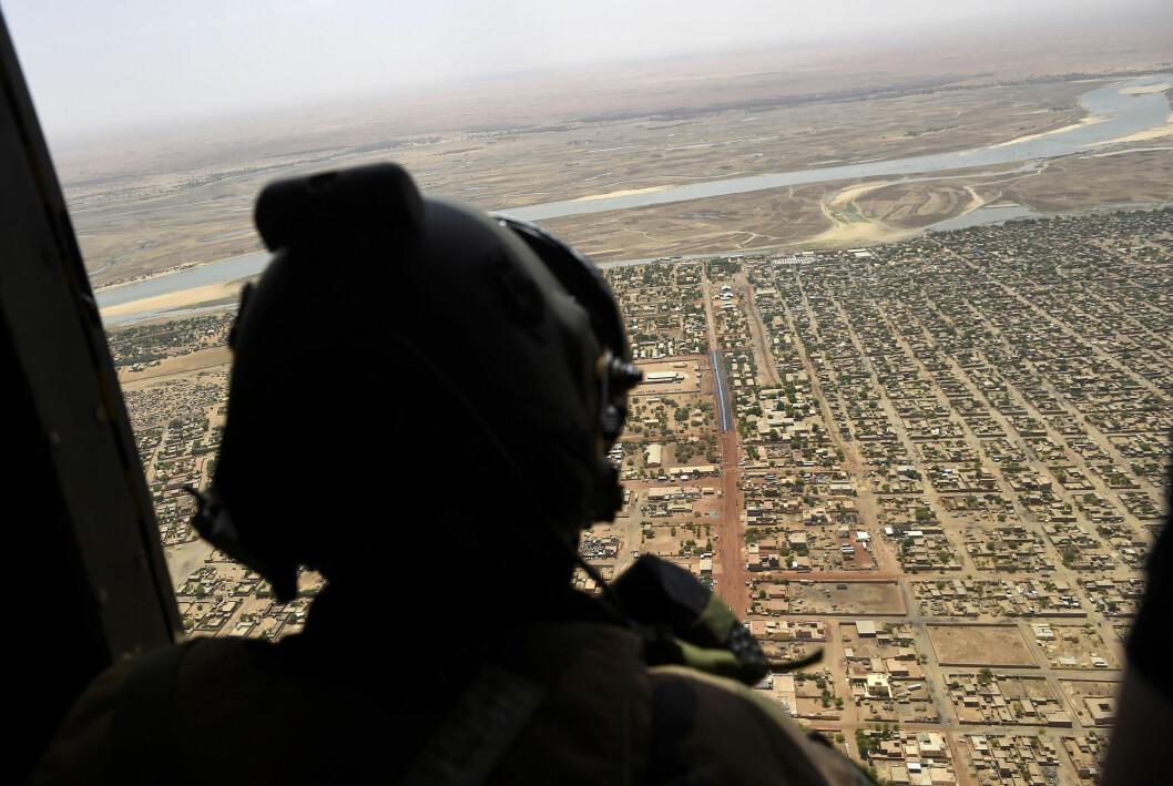 Den franske journalisten Olivier Dubois er kidnappet i Mali. Bildet viser en fransk soldat i landet fotografert ved en tidligere anledning.