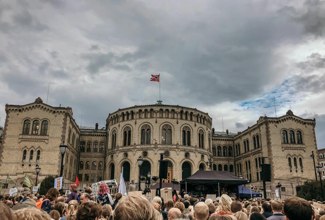Her fra demonstrasjon foran Stortinget i 2019