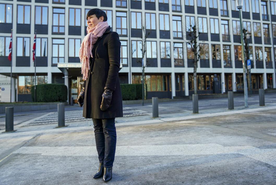Aftenposten og andre medier etterforskes for å ha omtalt et dokument de ikke skulle hatt tilgang til fra Utenriksdepartementet, her ved utenriksminister Ine Eriksen Søreide (H).