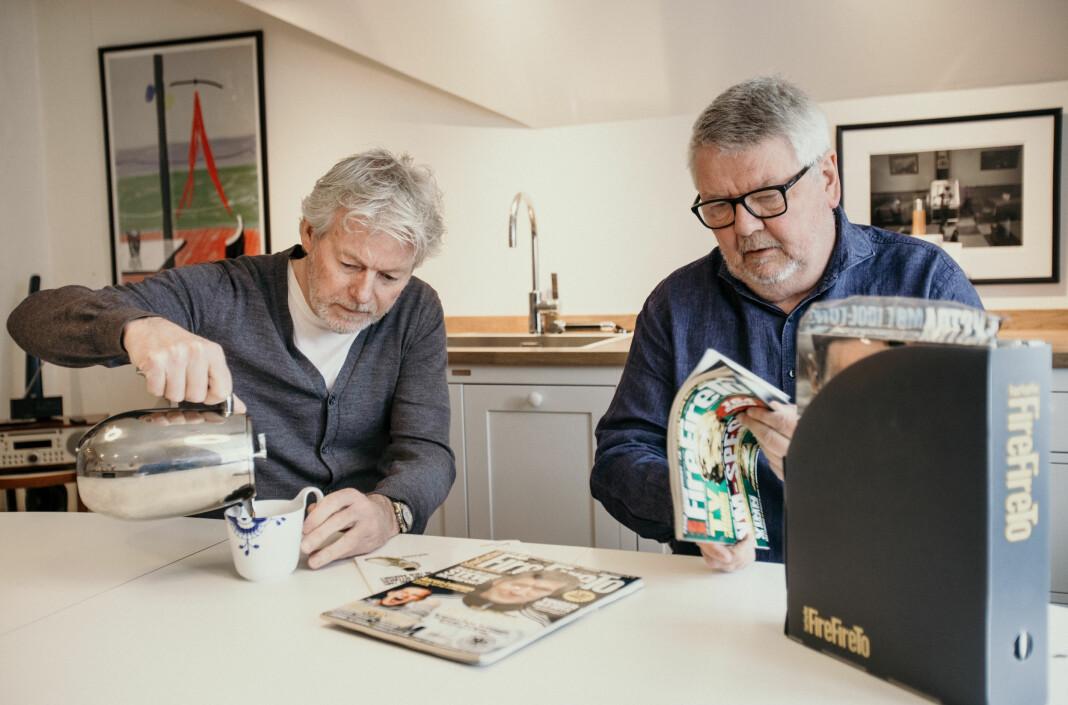 Morten Pedersen og Tom Stalsberg planlegger fotballmagasinet FireFireTre.
