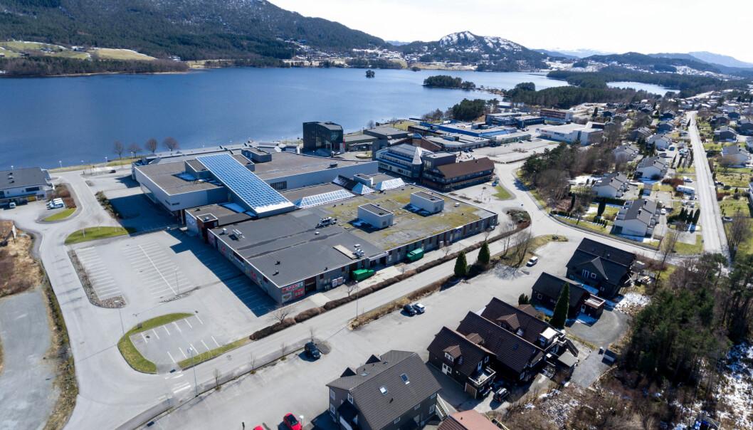 Dronebilde Husnes sentrum