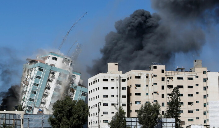 Israelsk luftangrep har jevnet mediebygg med jorden på Gazastripen