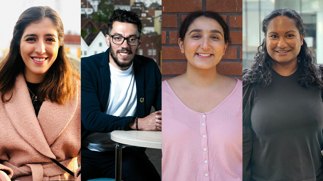 Skal gi Schibsted flerkulturell kompetanse: Fra venstre: Lara Rashid, Osama Shaheen, Chamanpreet Kaur og Gayatri Jeevaharan.